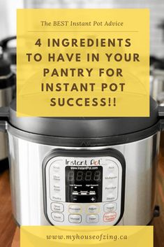 Have fun with your Instant Pot recipes and be sure to have these 4 ingredients in your pantry to ensure Instant Pot success, every time! Electric Pressure Cooker, Instant Pot Pressure Cooker, Pressure Cooker Recipes, Pressure Cooking, Best Instant Pot Recipe, Freezer Meals, 4 Ingredients, Pantry, Success
