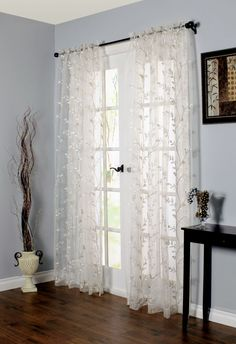 Embroidered Rod Pocket Curtain Single Panel