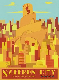 A Print of Saffron City Travel Poster, from the Pokemon World. Vintage paper-cut aesthetic, created digitally.  There is the option to add a