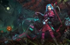 Witch Jinx by haryarti. I was attracted to this work due to its subject matter of Jinx, a character from League of Legends. Personally, it is one of my favorite characters and I greatly enjoy fanmade costumes for these characters. This one in particular, witch, creates a sense of alchemist and Alice in Wonderland. I'd love to see this skin in game and to own it personally. I also greatly enjoy the architecture present in the background.
