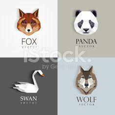 low polygon style animals- swan, fox, panda, wolf icons royalty-free stock vector art