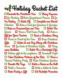 {Printable} Holiday Bucket List so you don't miss any of those great memory-making experiences in the Christmas chaos.