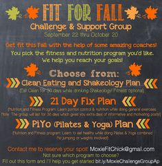 Fit for Fall Challenge and Support Group by MoxieFitChick.blogspot.com