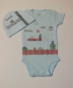Newborn baby set Super Mario Bros.. $17.00, via Etsy.