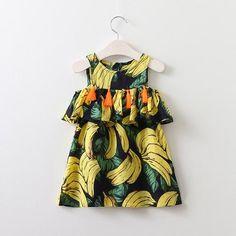 WILLOW Tassel Lotus Ruffles Neckline Cold-Shoulder Dress Blue-based Bananas