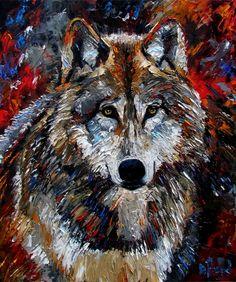 Wolf Art оригинальные картины маслом животного происхождения Картины изобразительное искусство Дебра Hurd. - Дебра Херд
