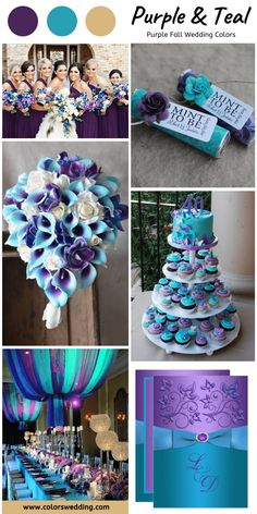 wedding cakes teal Purple + Teal Wedding: invitation, wedding cake, bouquets, table setting and candy wrapper, purple bridesmaid dresses. Teal And Grey Wedding, Purple Teal Weddings, Lavender Weddings, Purple Yellow, Gold Wedding, Cute Wedding Ideas, Wedding Themes, Wedding Inspiration, Fantasy Wedding