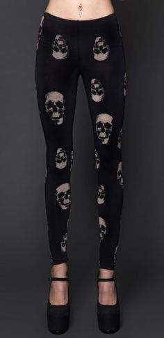 24 Hours by Lip Service Skull Print Leggings Pants