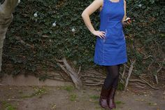 Victory Patterns Chloe Dress by MissMake. Devon added piping to seams. Make in denim, trim neck and armholes with self fabric, and pockets with flowery?