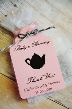 Baby is Brewing Thank You Gift Tags! Perfect Party Favor Hang Tags for your Baby Shower or Tea Party. Personalized tags with tea pot image.