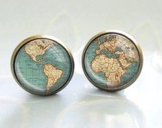 WORLD MAP GLOBE blue white Earrings map city vintage Blue And White Earrings, Map Globe, City Maps, Personalized Items, Vintage, Jewelry, Jewlery, Jewerly, Schmuck