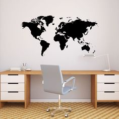 Decowall Modern Blue World Map Kids Wall Decals Wall Stickers Peel and Stick Removable Wall Stickers for Kids Nursery Bedroom Living Room (Large) Wall Stickers World Map, Wall Decals Uk, Large Wall Stickers, Les Stickers, Kitchen Wall Stickers, Removable Wall Stickers, Christmas Wall Art, Home Wall Decor, Living Room