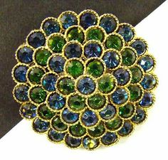 SIGNED LISNER Vintage BROOCH Pin PEACOCK Blue Green Rhinestone