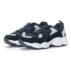 Γυναικεία μαύρα αθλητικά παπούτσια από συνδυασμό υφασμάτων it230418-46  18b9600de72