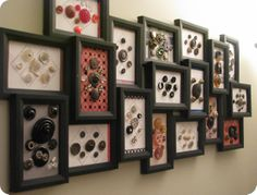 Carding old antique/vintage buttons on card stock of various colors and designs has been fun. The frame was on clearance and seemed to be a great one to display many different types of buttons! Button Cards, Button Button, Crafts To Make, Fun Crafts, Button Wall Art, Collection Displays, Sewing Projects, Projects To Try, Sewing Spaces