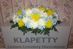 Cream Yellow Mums Blue Flowers Memorial Day Cemetery Grave Headstone Saddle