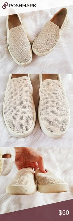 Vince Blair Basket Weave Slip On Sneakers Cream color. Good condition. Insoles are clean. Heels show minimal wear. Fits US size 6M. Vince Shoes