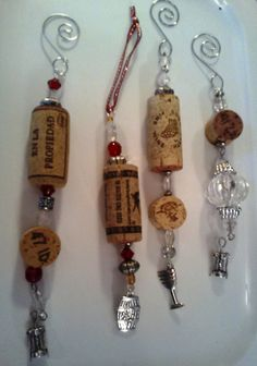 Items similar to Recycled Wine Cork Ornaments/Bottle Bling on Etsy Wine Craft, Wine Cork Crafts, Wine Bottle Crafts, Wine Cork Jewelry, Wine Cork Art, Wine Cork Ornaments, Snowman Ornaments, Christmas Ornaments, Christmas Tree