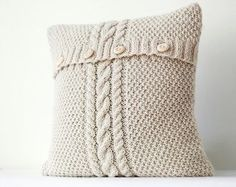 Items similar to Cable hand knitted pillow wool cover - milk white decorative pillows case - handmade home decor 26x26 0188 on Etsy