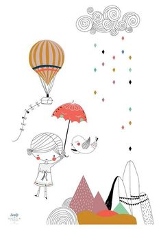Stunning illustration by Swantje Hinrichsen. Entrepeneur interview with Swantje Hinrichsen, Founding father of Swantje and Frieda on www. illustration obtain Pattern Illustration, Children's Book Illustration, Illustrator, Kids Poster, Painting Inspiration, Illustrations Posters, Art For Kids, Balloons, Poster Prints