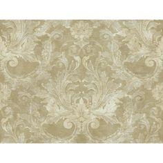 60.75 sq. ft. Gold Leaf Grand Damask Wallpaper, Pale Metallic Gold/Silver/Grey/Beige