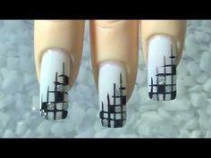 """Nail Art Design """" edles Gitter"""" black white silver """" noble lattice"""