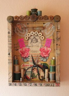 Your place to buy and sell all things handmade - This is a found object assemblage of vintage sewing items. The shadow box is covered in vintage sew - Shadow Box Kunst, Shadow Box Art, Sewing Art, Sewing Crafts, Sewing Tips, Sewing Hacks, Sewing Tutorials, Sewing Ideas, Spool Crafts