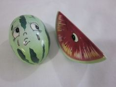 """Vintage PY Watermelon face Ceramic Salt Pepper Shakers 1 1/2"""" H 3"""" L"""