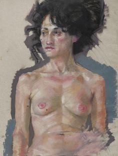 Black Hair - Acrylique, pastel Gras et lavis sur papier parchemin - 50 x 65 cm