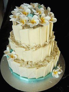 White Chocolate Cake Topped With Frangipanis