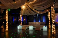 Crystal Ball NYE Masquerade Party at IDL Ballroom. Rentals by Party Perfect Linens, uplighting by Edge Sight and Sound.