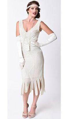 Unique Vintage 1920s Style Ivory Beaded Sleeveless Hawkins Flapper Dress