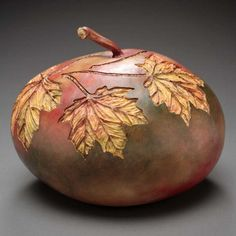 Incredible Gourd Art by Marilyn Sunderland Turns Fall Vegetables into . Sunderland, Hand Painted Gourds, Decorative Gourds, Decorative Lamps, Creative Pumpkins, Gourds Birdhouse, Fall Vegetables, Art Carved, Pattern Art
