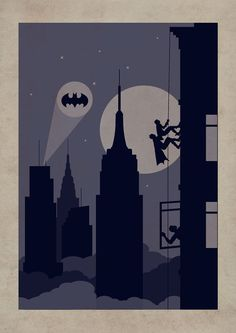 New York Batman Poster //  climbing wall Batman & Robin  Darknight Batsignal party Skyworld artwork