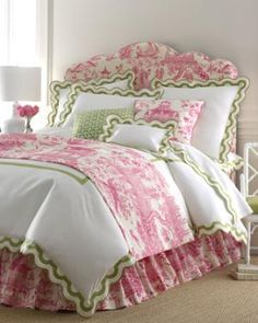 "Pink and green Legacy Home ""Mirasol"" bedding and headboard from horchow.com"