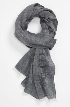 Burberry Grey Linen & Cotton Scarf