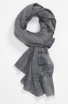Burberry Grey Linen & Cotton Scarf  / available at #Nordstrom