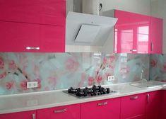 Kitchen Interior, Kitchen Decor, Kitchen Design, Kitchen Wall Tiles, Kitchen Cabinets, My Home Design, House Design, Pink Kitchens, Terrace Decor
