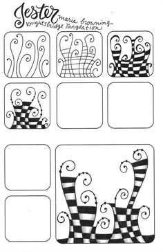 New Zentangle Tangleation – Jester Doodles Zentangles, Tangle Doodle, Tangle Art, Zentangle Drawings, Doodle Drawings, Doodle Art, Easy Zentangle Patterns, Zen Doodle Patterns, Doodle Designs