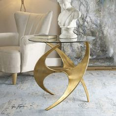 Mid Century Gold Accent Table with Round Glass Top   Clear Home Design Gold End Table, Gold Accent Table, Accent Tables, Accent Chairs, Plywood Furniture, Table Furniture, Home Furniture, Modern Furniture Design, Furniture Vanity