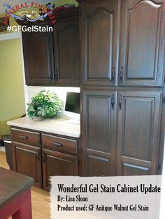 General Finishes Antique Walnut Gel Stain was the color of choice for Lisa Sloan to give her kitchen cabinets a fresh new look. You can buy General Finishes products at www.woodcraft.com, www.rockler.com, Amazon and limited selections at www.leevalley.com in Canada. Or use your zip code to find a retailer near you at http://generalfinishes.com/where-buy#UvASj1M3mIY. #generalfinishes #gfgelstain