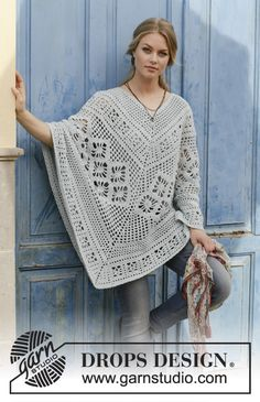 Free Crochet Pattern for Cressida Lace Poncho. Skill Level: Intermediate Crocheted poncho with lace pattern, worked top down. Free Pattern More Patterns Like This! blau Free Crochet Pattern for Cressida Lace Poncho ⋆ Crochet Kingdom Stitch Crochet, Crochet Cape, Crochet Poncho Patterns, Crochet Shawls And Wraps, Knitted Poncho, Crochet Scarves, Knitting Patterns Free, Crochet Clothes, Free Crochet