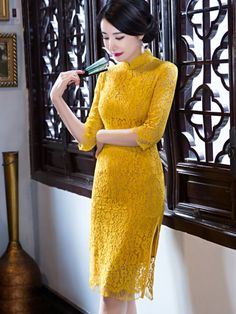 Mustard yellow lace qipao