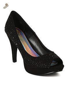 Delicious BD43 Women Faux Suede Stones Embellishment Peep Toe Heel Pump - Black (Size: 6.5) - Delicious pumps for women (*Amazon Partner-Link)