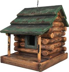 All wood construction, this great looking bird house is great decor for log cabins, lodges, or hunting camps. Heavy duty wire rope for hanging, removable plastic cleanout plug on bottom. Dimensions: 7