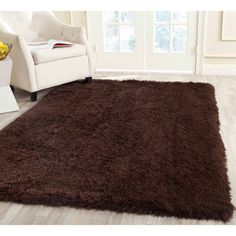 Shaggy Dark Brown Area Rug For Living Room
