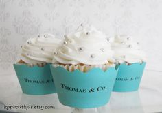 Tiffany & Co. Inspired Personalized Cupcake Wrappers (12)