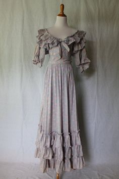 Vintage LAURA ASHLEY Regency Georgian Provincial Style Ruffled Tea Dress US 10 #LauraAshley