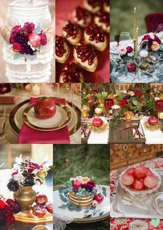 #Pomegranate Inspired #Wedding Ideas Mood Board from The Wedding Community