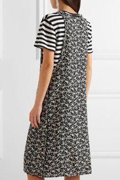 R13 - Tank Overlay Printed Silk And Cotton Dress - Black -